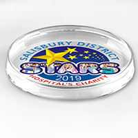 "8508S (Screen Print), 8508P (4Color Process)-Prestige Round Glass Paperweight - 2 7/8"" L x 2 7/8"" W x 1""H"